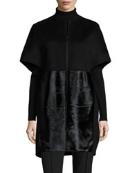 Lafayette 148 New York Two Tone Double Face Makayla Wool Cashmere And Calf Hair Coat Black