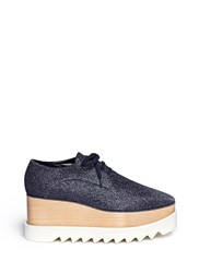 Stella Mccartney 'Elyse' Glitter Wood Platform Derbies Blue