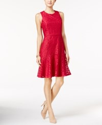Nine West Lace Fit And Flare Dress Pink