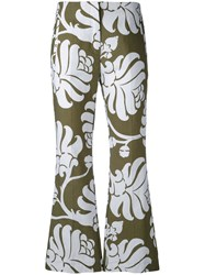 Jucca Floral Flared Cropped Trousers Women Cotton 38 Green