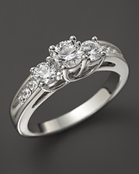 Bloomingdale's Certified Diamond 3 Stone Ring In 18K White Gold 1.50 Ct. T.W.