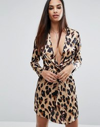 Missguided Leopard Print Wrap Dress Leopard Brown