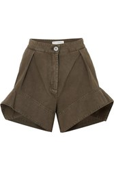 J.W.Anderson Jw Anderson Brushed Cotton Twill Shorts Green