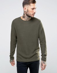 Only And Sons Knitted Jumper With Raw Edges Khaki Green