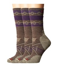Smartwool Phd Outdoor Medium Pattern Crew 3 Pair Pack Taupe Women's Crew Cut Socks Shoes
