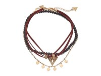 Guess Choker Trio Metal And Cord With Pave Triangle Necklace Gold Crystal Black Wine Necklace Brown