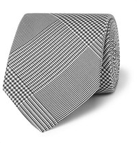 Drakes Drake's 8Cm Prince Of Wales Checked Silk Jacquard Tie Black