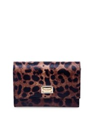 Dolce And Gabbana Leopard Print Leather French Flap Wallet