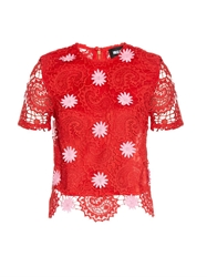 House Of Holland Floral Applique Paisley Lace Top