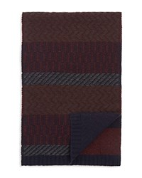 Bloomingdale's The Men's Store At Multistitch Color Block Scarf Oxblood Navy Brown