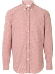 Gieves And Hawkes Check Button Down Shirt Red