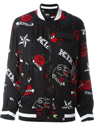 Ktz Tattoo Print Bomber Jacket Black