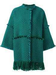 Gianluca Capannolo Woven Raw Edge Coat Blue
