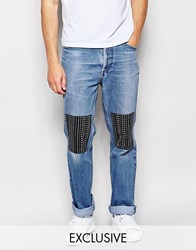 Reclaimed Vintage Levis 501 Jeans With Knee Patches Blue