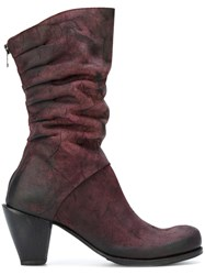 Lost And Found Ria Dunn Pleated Boots Calf Leather Leather Red