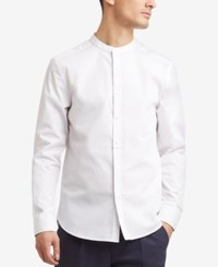 Kenneth Cole Reaction Men's Band Collar Shirt White