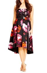 City Chic Plus Size Women's 'Floral Magic' Floral Print Strapless High Low Dress