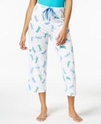 Charter Club Printed Cotton Knit Cropped Pajama Pants Only At Macy's Dragonfly