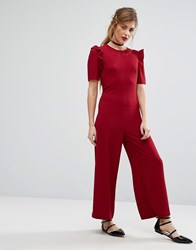 Fashion Union Ruffle Sleeve Jumpsuit Berry Red