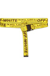 Off White Canvas Jacquard Belt Yellow