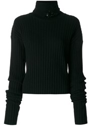 Aviu Embellished Turtle Neck Sweater Silk Cashmere Wool Sequin Black