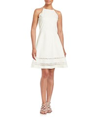 Design Lab Lord And Taylor Crochet Accented Fit Flare Dress Ivory