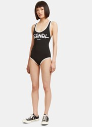 Fendi Roma Logo Swimsuit Black