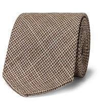 Drakes Drake's 8Cm Houndstooth Wool And Silk Blend Tie Brown