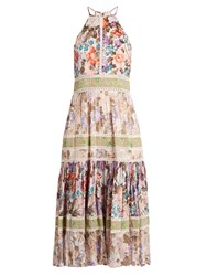 Rebecca Taylor Floral Print Halterneck Cotton Blend Dress Green Multi