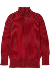 Balenciaga Oversized Ribbed Wool Turtleneck Sweater Red