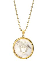 Asha Women's Zodiac Mother Of Pearl Pendant Necklace Cancer