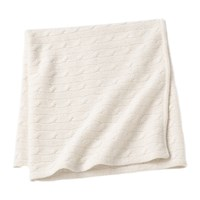 Sofia Cashmere Angel Cable Knit Baby Throw White