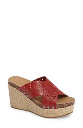Lucky Brand Women's Neeka Espadrille Wedge Mule Rosewood Leather