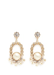 Miriam Haskell Crystal Baroque Glass Pearl Chain Drop Earrings White