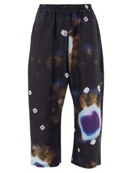 By Walid Marek Tie Dye Raw Silk Trousers Navy Multi