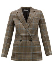 Givenchy Checked Double Breasted Wool Blend Blazer Grey Multi