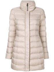 Peuterey Padded Zip Up Coat Women Feather Down Polyester 44 Nude Neutrals