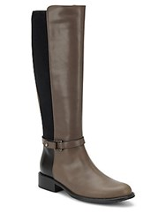 Aquatalia By Marvin K Udelle Leather Paneled Tall Boots Grey