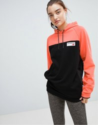 New Balance Colourblock Pullover Hoodie In Coral Pink