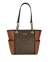 Calvin Klein Faux Leather Tote Brown
