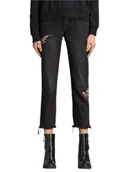 Allsaints Birds Embroidery Cropped Frayed Boyfriend Jeans Washed Black