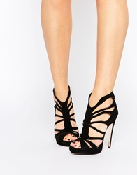 Forever Unique Martini Caged Suede Heeled Sandals Black