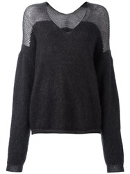Ilaria Nistri V Neck Loose Fit Jumper Grey