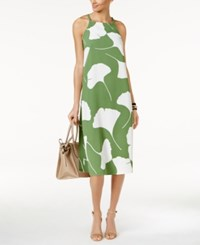 Alfani Printed Halter Dress Only At Macy's Green Large Leaf