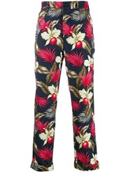 Engineered Garments Floral Print Trousers Blue