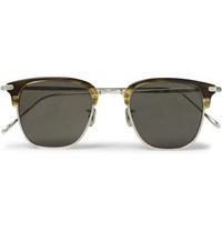 Eyevan 7285 Square Frame Acetate And Silver Tone Sunglasses Green