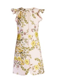 Giambattista Valli Floral Print Ruffled Crepe Dress Pink Multi