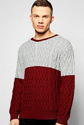 Boohoo Cable Knit Crew Neck Jumper Burgundy