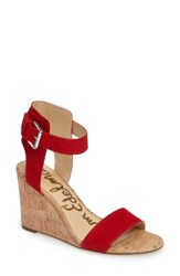 Sam Edelman Women's Willow Strappy Wedge Sandal Passion Red Leather