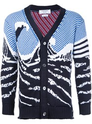 Thom Browne Ocean Pattern Cardigan Blue